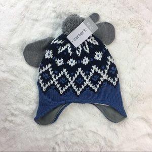 Carter's 2T - 4T cap Hat mittens Blue Fleece Soft