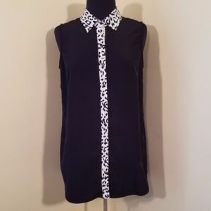 Ali & Kris Black Sleeveless Blouse with Leopard