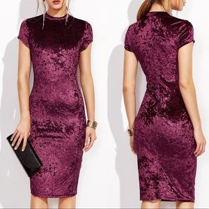 🔥SALE🆕HP🏆Mock Neck crushed velvet pencil dress