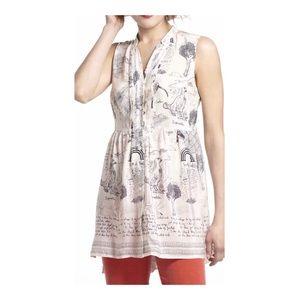Anthropologie Illustrated Silk Tunic RARE