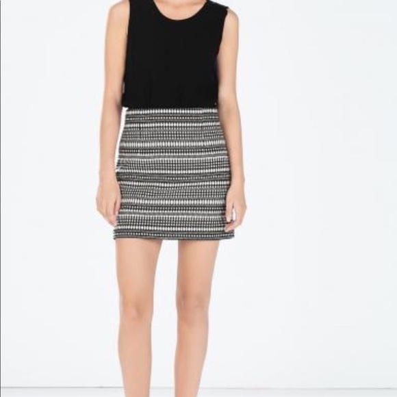 Zara Skirts Black White Jacquard Mini Skirt Sz L Bnwt Poshmark