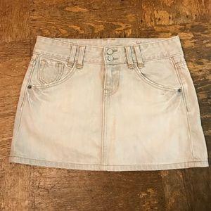 GAP off white fade denim mini skirt