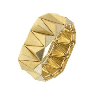 Gold Pyramid Stretch Statement Bracelet