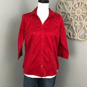 212 Collection | Red Button Down Blouse