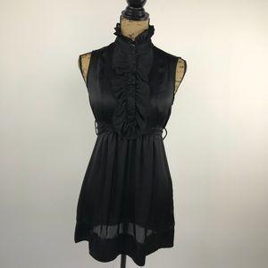 Twenty One black jabot sleeveless tunic size S
