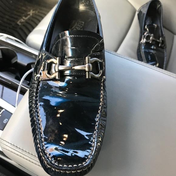 Mens Navy Blue Patent Leather Ferragamo