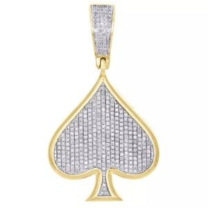 Other - ♠️ Real Diamonds Solid 10K Gold Spade Pendant Mens