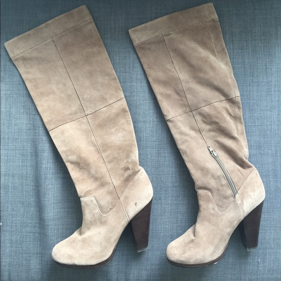 cbc0625ac15 H M Shoes - H M Taupe Light Grey Knee-High Boots EUR 39 US 8