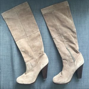 H&M Taupe/Light Grey Knee-High Boots EUR 39 US 8
