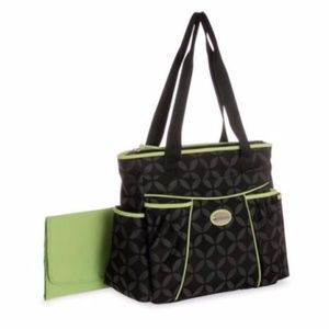 Baby Boom Diaper Bag Green Black Gray Leaf
