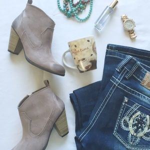 Shoes - Taupe ankle heeled booties side zip