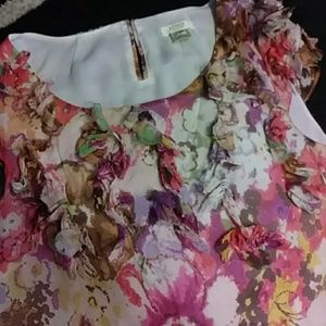 J.Crew. silk blouse sheer flowers sz 6