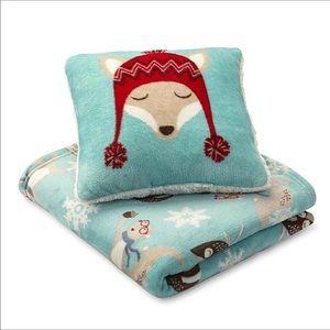 Pillow blanket Fox Throw Set plush SOFT Holiday!