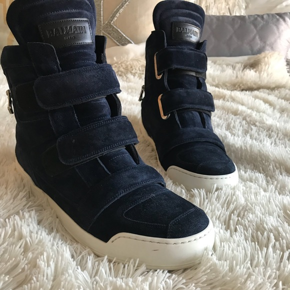 ea8015b2e697 Balmain Men's Dark Blue High Top Sneaker