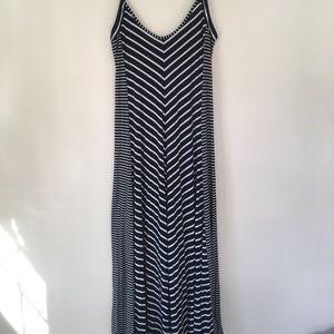Cynthia Rowley maxi dress blue and white stripes M