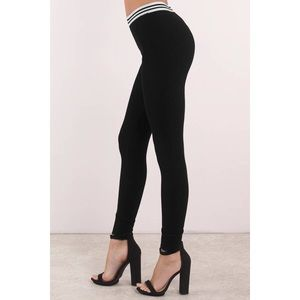 Pants - Black & White Striped High Waist Leggings