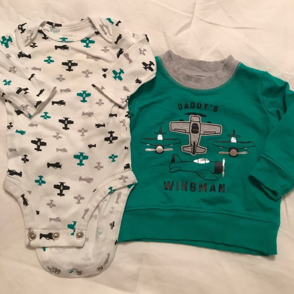Nwt Baby Boys Carter/'s 3 Piece Romper Pants Shirt Wingman Airplanes Blue NB 3M