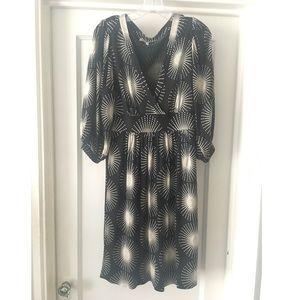 TIBI Silk Black/Ivory Print V-Neck Dress