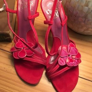 Charles David Red High Heel Sandals Size 8