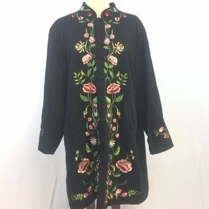 [Victor Costa] Embroidered Duster Dress Jacket XXL