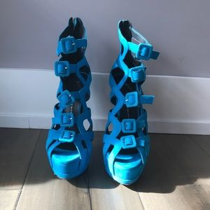 Electric Blue Giuseppe Cage Heels