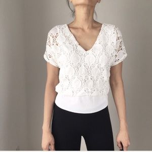 Amber crocheted lace white top.