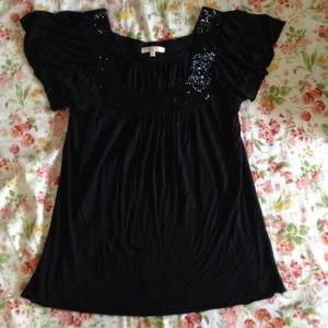 Black sequin T shirt blouse