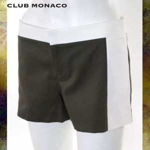 CLUB MONACO Olive Green/Wht Colorblocked Shorts