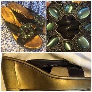 Matisse copper and brown wedge sandals