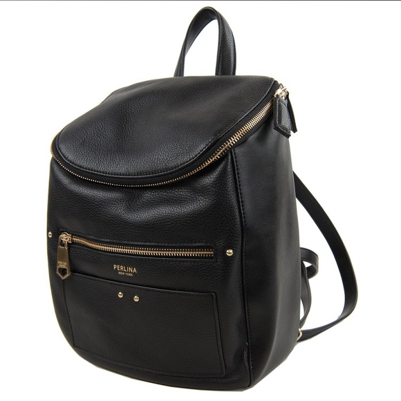 NWT Perlina Black Leather Backpack Purse ece0169659d35