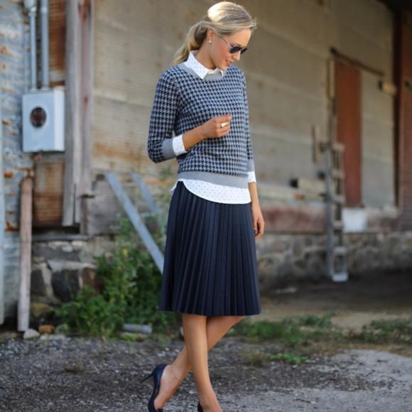 b6b2a4f9fb J. Crew Dresses & Skirts - J. Crew Navy Pleated Sweater Merino Wool Skirt