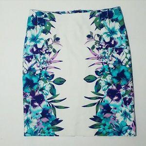 Blue Floral Pencil Skirt