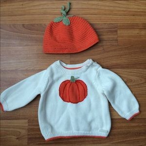 Janie and Jack Pumpkin Sweater and Hat