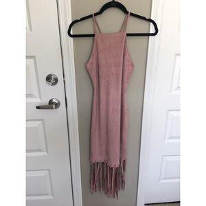 • tassel hem faux suede bodycon dress mauve •