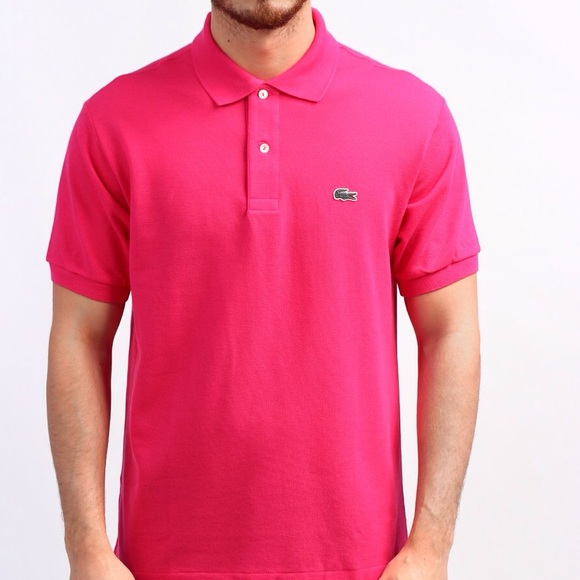 Men's Lacoste bright pink polo size 7
