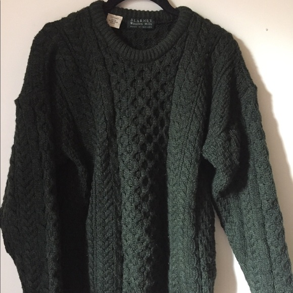 d348dd69b09fa1 Blarney woollen mills Sweaters - Irish merino wool thick green cable knit  sweater