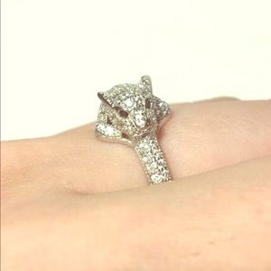 Jewelry - 3ctw Sapphire & White Topaz Silver Leopard Ring