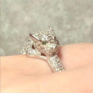 Jewelry - 2ctw Emerald & White Topaz Silver Leopard Ring