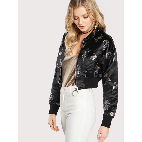 Tobi Jackets & Blazers - JET SET BLACK MULTI FLORAL SATIN BOMBER JACKET
