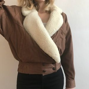 Jackets & Blazers - Vintage leather jacket with shearling detailing
