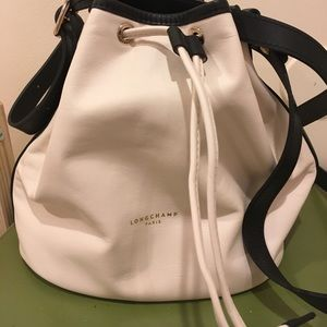 Longchamp White leather purse with black detail