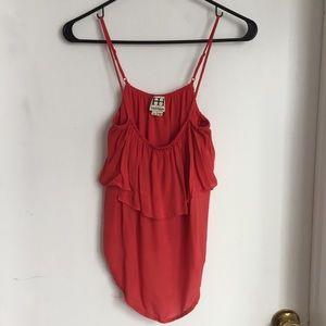 Haute Hippie coral red flouncy silk sleeveless top