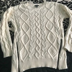 Sweaters - Forever 21 cream cable knit sweater size M