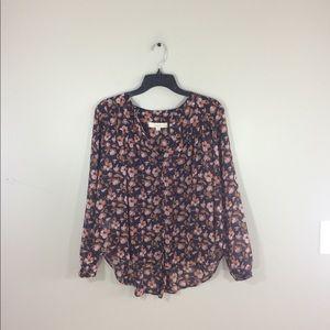 Loft Petite Floral Chiffon Button Up Blouse Top