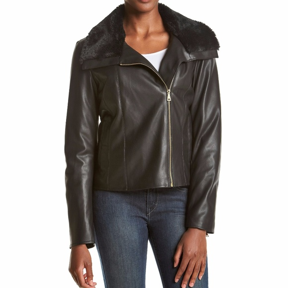 3a341beca Cole Haan Signature Faux-Fur-Collar Women's Jacket NWT