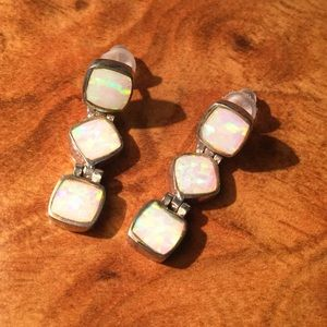 Jewelry - Opal Sterling Silver Vintage Earrings