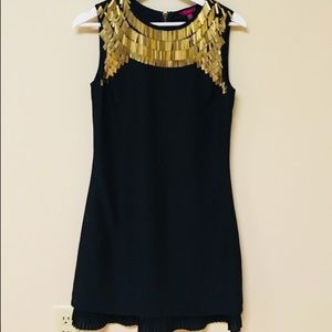 Ted Baker Silk Black Gold Party Dress 1