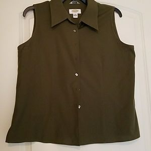 Talbots Olive Sleeveless Blouse