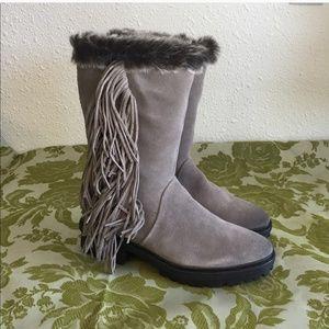 Sam Edelman suede grey faux fur lined boots 9.5