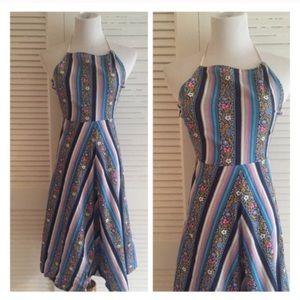 Vintage Floral Dress, Halter Neck, Made in Italy